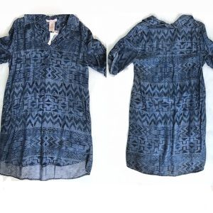 Philosophy Denim Print Tunic With Pockets